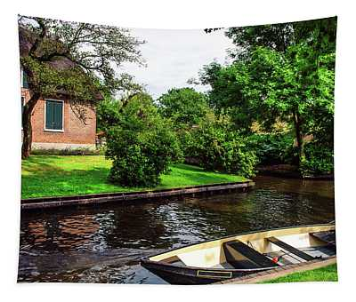 Giethoorn Scene With Boat And Cottage. The Netherlands Tapestry