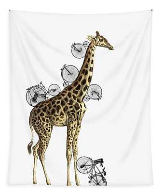 Giraffe And Bicycles Tapestry