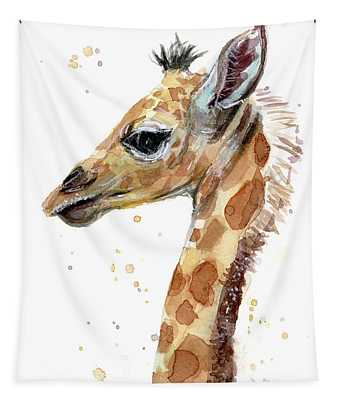 Giraffe Baby Watercolor Tapestry