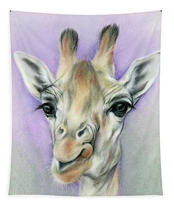 Giraffe With Beautiful Eyes Tapestry