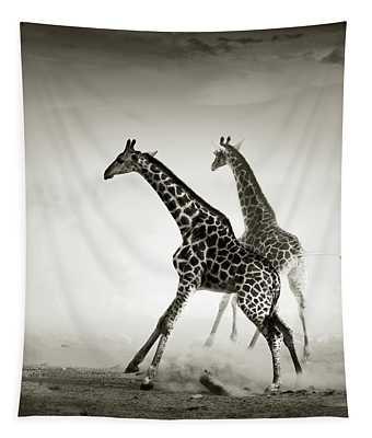 Giraffes Fleeing Tapestry