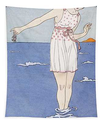 Girl At The Beach Tapestry