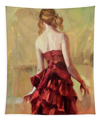 Girl In A Copper Dress II Tapestry