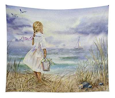 Girl And Ocean Watercolor Tapestry
