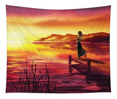 Girl Watching Sunset At The Lake Tapestry