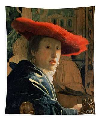 Girl With A Red Hat Tapestry