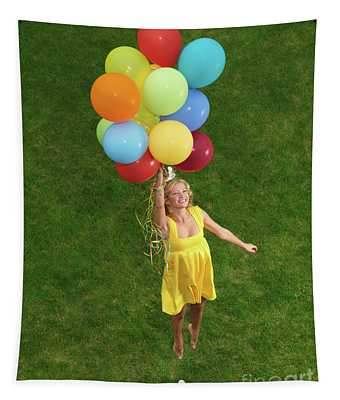 Girl With Air Balloons Tapestry