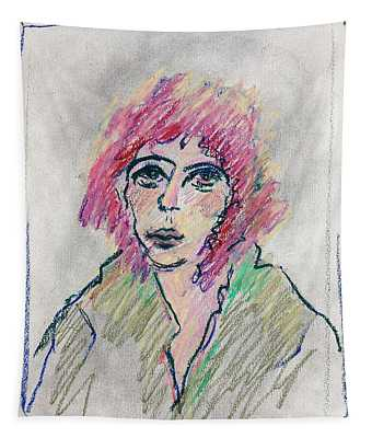 Girl With Pink Hair  Tapestry