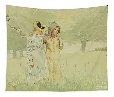Girls Strolling In An Orchard Tapestry