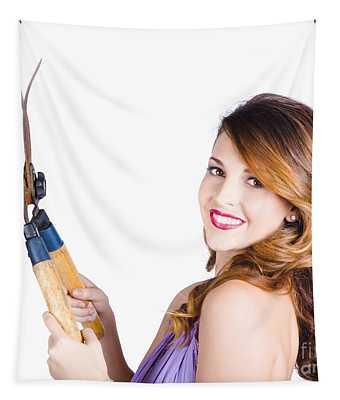 Glamorous Woman Gardening Tapestry