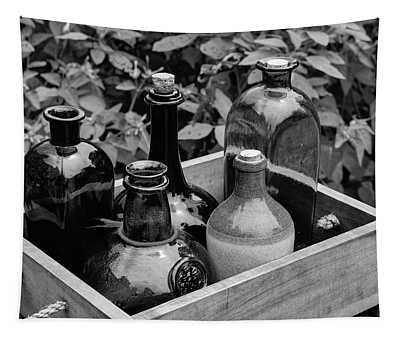 Glass Bottles In The Garden Tapestry