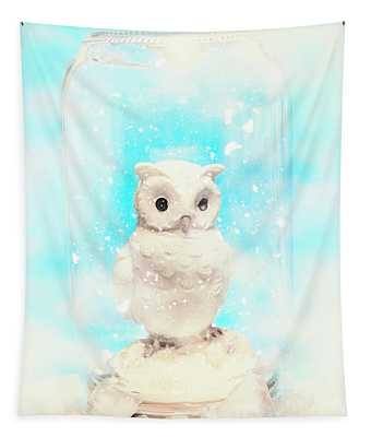 Glass Jar Winter Owl Tapestry