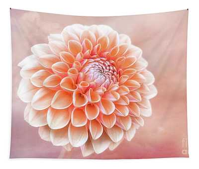 Glorious Salmon Dahlia Tapestry