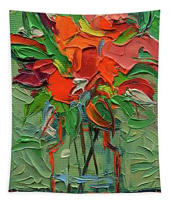 Glowing Bouquet - Abstract Miniature Palette Knife Oil Painting Tapestry