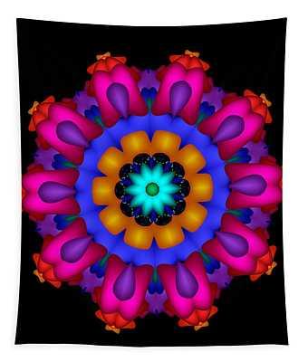 Glowing Fractal Flower Tapestry