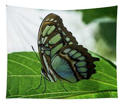 Glowing Green Tropical Butterfly Tapestry
