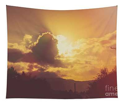 Glowing Orange Hilltop View Of An Afternoon Sunset Tapestry