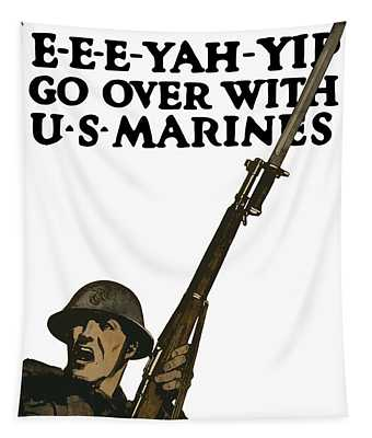 Go Over With Us Marines Tapestry