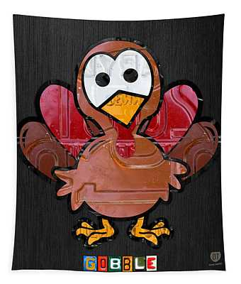 Gobble The Turkey Recycled Thanksgiving License Plate Art Tapestry