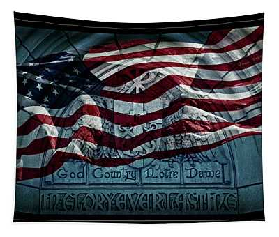 God Country Notre Dame American Flag Tapestry