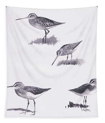 Godwits And Green Sandpipers Tapestry