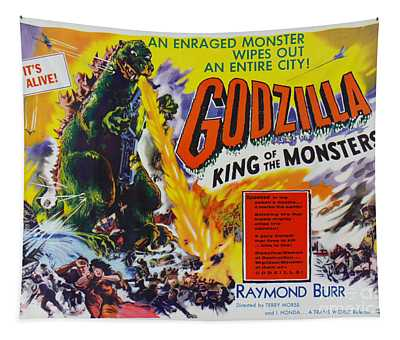 Godzilla King Of The Monsters An Enraged Monster Wipes Out An Entire City Vintage Movie Poster Tapestry