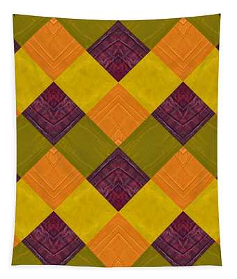 Gold And Green With Orange 2.0 Tapestry