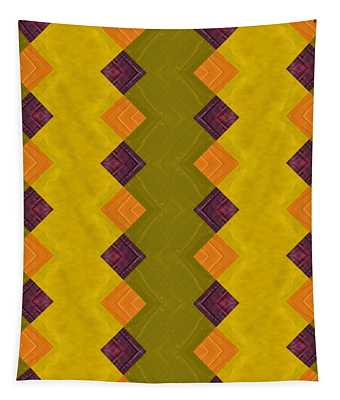 Gold And Green With Orange  Tapestry