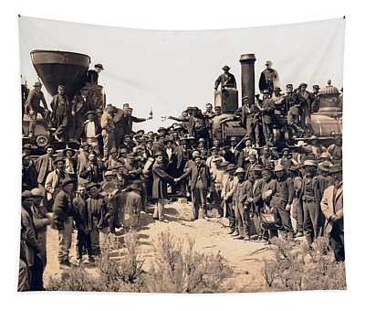 Gold Spike Railroad Opens The West 1869 Tapestry