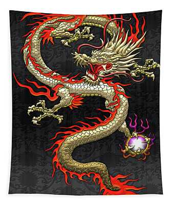 Golden Chinese Dragon Fucanglong On Black Silk Tapestry
