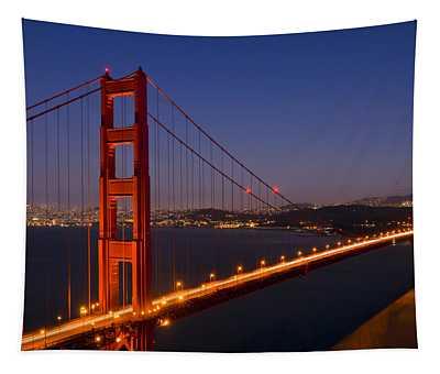 Golden Gate Bridge At Night Tapestry