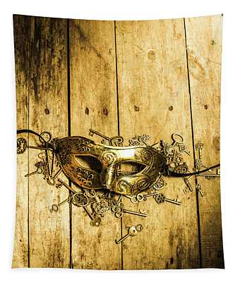 Golden Masquerade Mask With Keys Tapestry