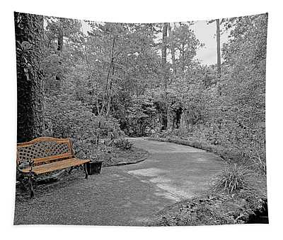 Golden Park Bench Along The Gardens Walkway Tapestry