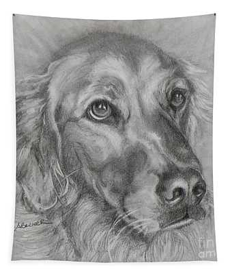 Golden Retriever Drawing Tapestry