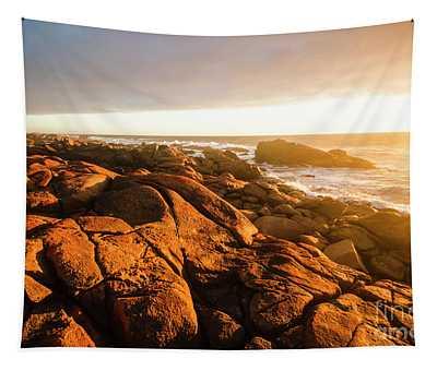 Golden Sunset Coast Tapestry