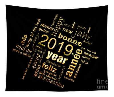 Golden Word Cloud New Year Card Tapestry