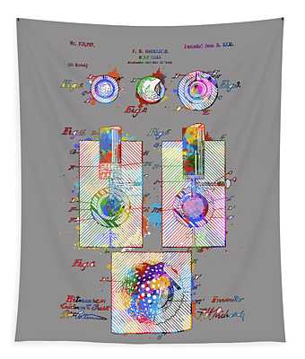 Golf Ball Patent Drawing Color 2 Tapestry