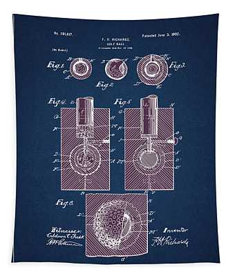 Golf Ball Patent Drawing Navy Blue 2 Tapestry