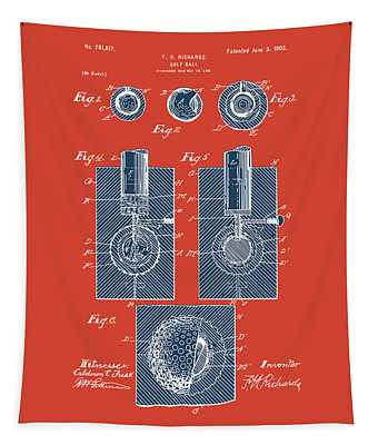 Golf Ball Patent Drawing Red 2 Tapestry