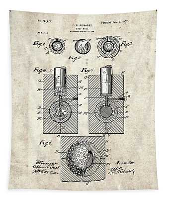Golf Ball Patent Drawing Vintage 2 Tapestry