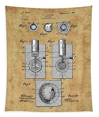 Golf Ball Patent Drawing Vintage Tapestry