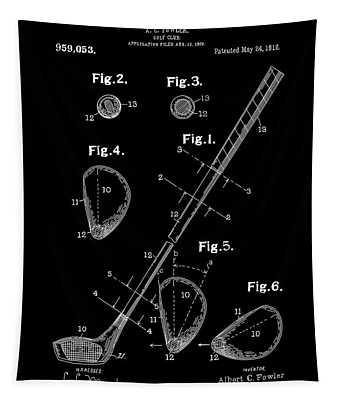Golf Club Patent Drawing Black Tapestry
