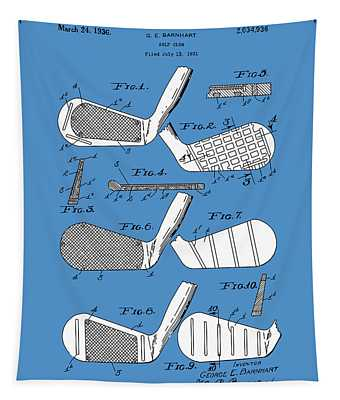 Golf Club Patent Drawing Blue 3 Tapestry