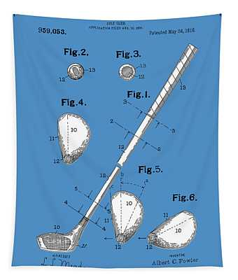 Golf Club Patent Drawing Blue Tapestry