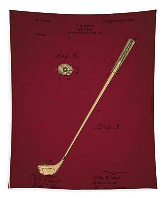 Golf Club Patent Drawing Dark Red 3 Tapestry
