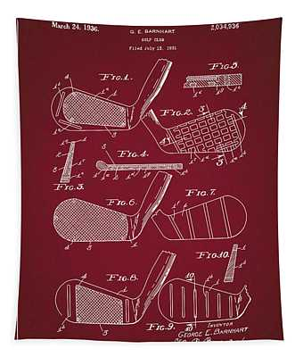 Golf Club Patent Drawing Dark Red 5 Tapestry