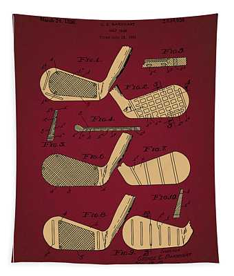Golf Club Patent Drawing Dark Red 6 Tapestry