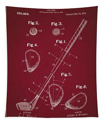 Golf Club Patent Drawing Dark Red Tapestry