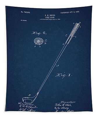 Golf Club Patent Drawing Navy Blue 3 Tapestry