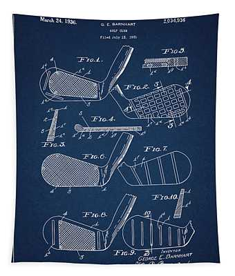 Golf Club Patent Drawing Navy Blue 5 Tapestry